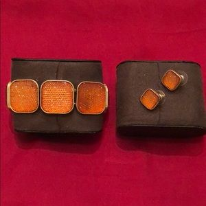 Jewelry - Shiny Orange Bracelet & Earrings